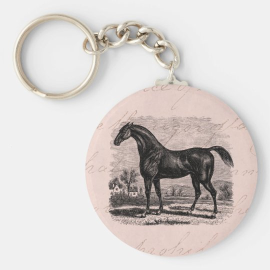 Vintage 1800s Race Horse Retro Thoroughbred Horses Basic Round Button Key Ring