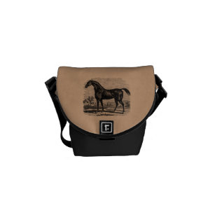 Vintage 1800s Race Horse Retro Thoroughbred Horses Courier Bag