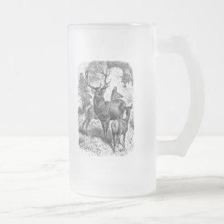 Vintage 1800s Red Deer Illustration Stag Doe Fawn Frosted Glass Mug