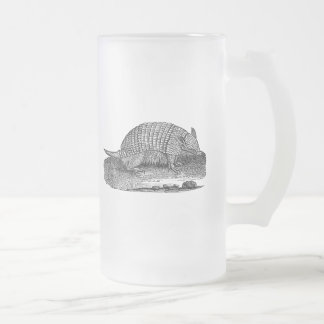 Vintage 1800s Retro Armadillo Antique Armadillos Frosted Glass Beer Mug