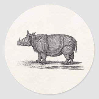 Vintage 1800s Rhinoceros Illustration - Rhino Classic Round Sticker