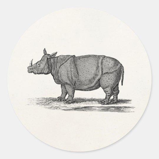 Vintage 1800s Rhinoceros Illustration - Rhino Classic Round