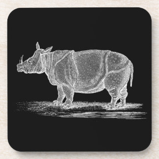 Vintage 1800s Rhinoceros Illustration - Rhino Coaster