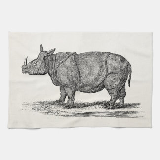 Vintage 1800s Rhinoceros Illustration - Rhino Kitchen Towels