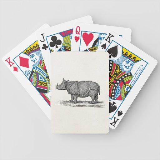 Vintage 1800s Rhinoceros Illustration - Rhino Playing Cards