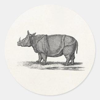 Vintage 1800s Rhinoceros Illustration - Rhino Stickers