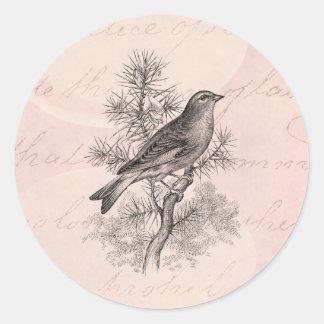 Vintage 1800s Rose Linnet Song Bird Finch Birds Classic Round Sticker
