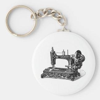 Vintage 1800s Sewing Machine Illustration Basic Round Button Key Ring