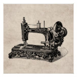Vintage 1800s Sewing Machine Illustration Poster