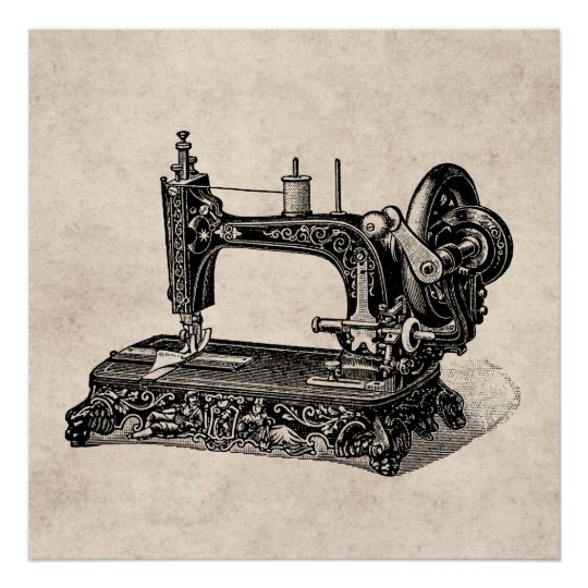 Vintage 1800s Sewing Machine Illustration Poster