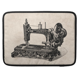 Vintage 1800s Sewing Machine Illustration Sleeve For MacBooks