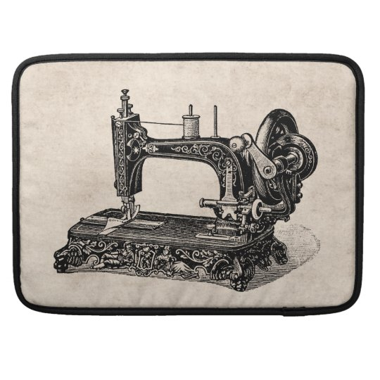 Vintage 1800s Sewing Machine Illustration Sleeve For MacBooks