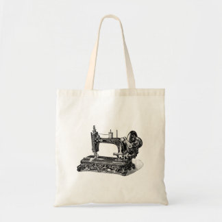 Vintage 1800s Sewing Machine Illustration Tote Bag