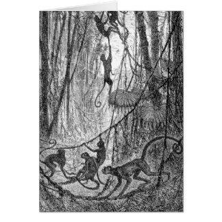 Vintage 1800s Spider Monkeys Jungle Monkey Card