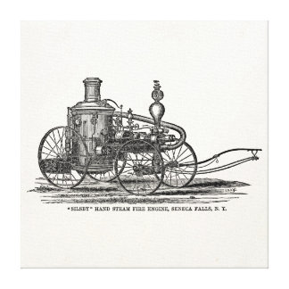 Vintage 1800s Steam Fire Engine Antique Fire Truck Gallery Wrap Canvas