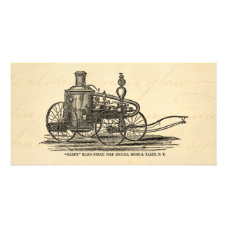 Vintage 1800s Steam Fire Engine Antique Fire Truck Personalised Photo Card