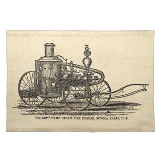 Vintage 1800s Steam Fire Engine Antique Fire Truck Placemat