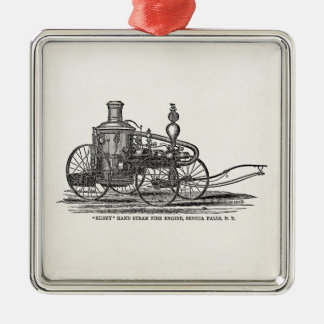 Vintage 1800s Steam Fire Engine Antique Fire Truck Silver-Colored Square Decoration