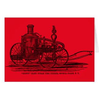 Vintage 1800s Steam Fire Engine Red Fire Truck Greeting Card
