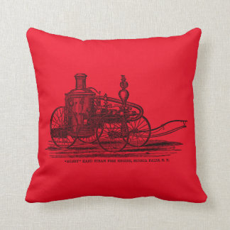 Vintage 1800s Steam Fire Engine Red Fire Truck Throw Pillow