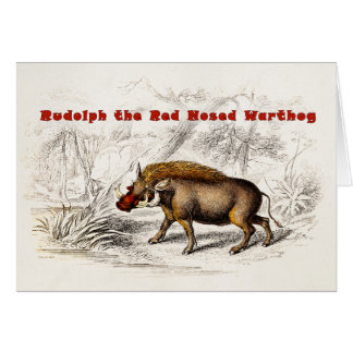 Vintage 1800s the Red Nosed Warthog Hogs Card