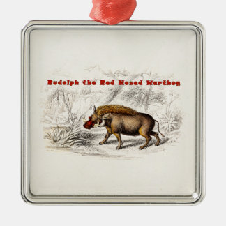 Vintage 1800s the Red Nosed Warthog Silver-Colored Square Decoration