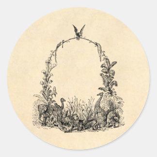 Vintage 1800s Wild Animal Frame - lion elephant Classic Round Sticker
