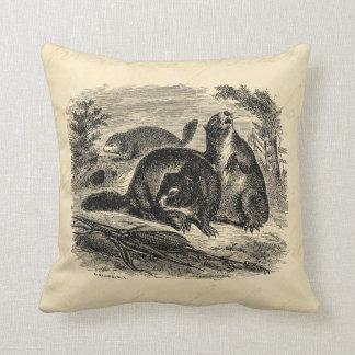 Vintage 1800s Woodchuck Retro Woodchucks Template Throw Pillow