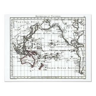 Vintage 1806 Map - Australasie et Polynesie 11 Cm X 14 Cm Invitation Card