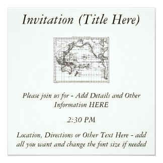 Vintage 1806 Map - Australasie et Polynesie 13 Cm X 13 Cm Square Invitation Card