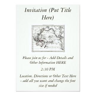 Vintage 1806 Map - Australasie et Polynesie 14 Cm X 19 Cm Invitation Card