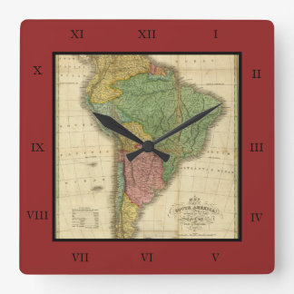 Vintage 1826 South America Map by Anthony Finley Square Wallclocks
