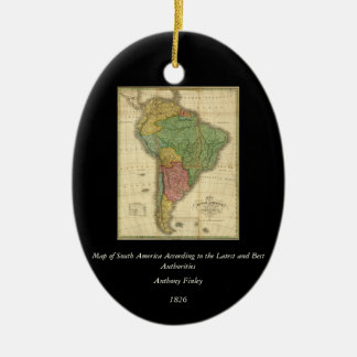 Vintage 1826 South America Map by Anthony Finley Ceramic Oval Decoration