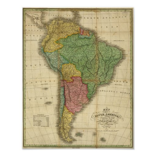 Vintage 1826 South America Map by Anthony Finley Posters
