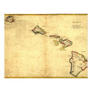 Vintage 1837 Hawaii Map -  Hawaiian Islands 21.5 Cm X 28 Cm Flyer