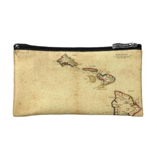 Vintage 1837 Hawaii Map -  Hawaiian Islands Cosmetic Bags