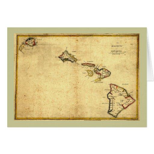 Vintage 1837 Hawaii Map -  Hawaiian Islands Card