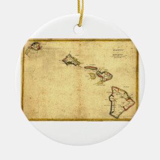 Vintage 1837 Hawaii Map -  Hawaiian Islands Christmas Ornament
