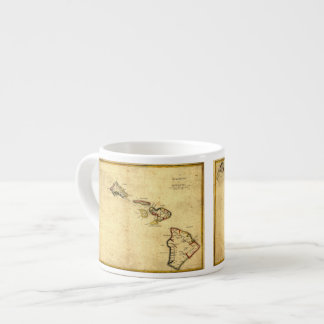 Vintage 1837 Hawaii Map -  Hawaiian Islands Espresso Cup