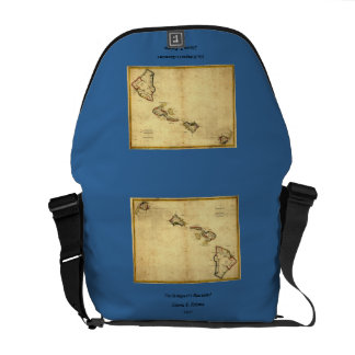 Vintage 1837 Hawaii Map -  Hawaiian Islands Messenger Bag