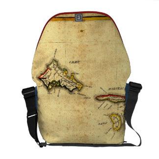 Vintage 1837 Hawaii Map -  Hawaiian Islands Courier Bags