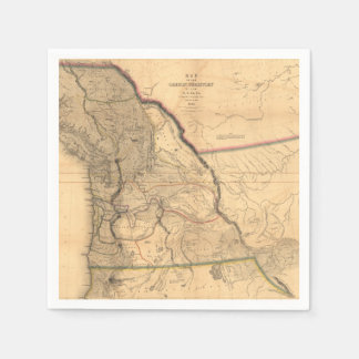 Vintage 1841 Oregon Pacific Northwest Map Disposable Napkins
