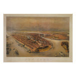 Vintage 1847 New York City Bird's Eye View Map Poster