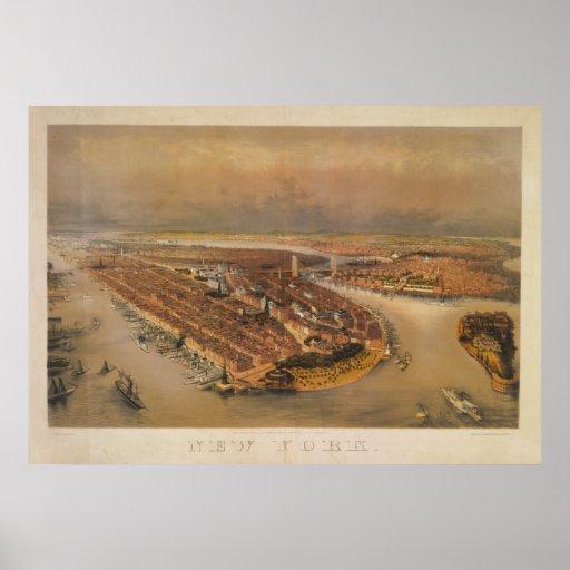 Vintage 1847 New York City Bird's Eye View