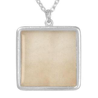Vintage 1850 Parchment Paper Template Blank Square Pendant Necklace