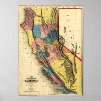 Vintage 1851 California Gold Region State Map Print
