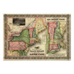 Vintage 1856 New England Rail Map Poster