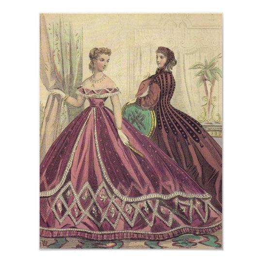 Vintage 1860s Women Tea Party Card