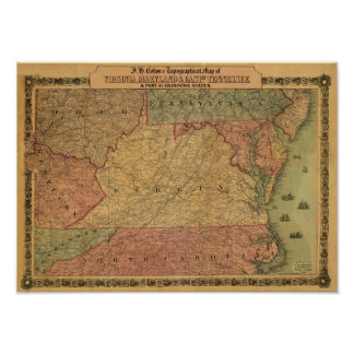 Vintage 1861 Map of Virginia, Maryland & Delaware Poster