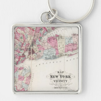 Vintage 1868 Map of New York Silver-Colored Square Key Ring